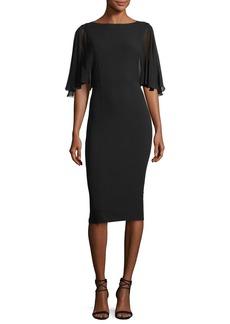 Michael Kors Collection Chiffon-Sleeve Virgin Wool Crepe Sheath Dress