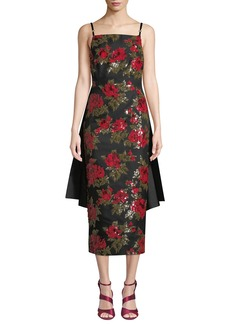 Michael Kors Collection Chine Floral-Embroidered Cocktail Dress w/ Train