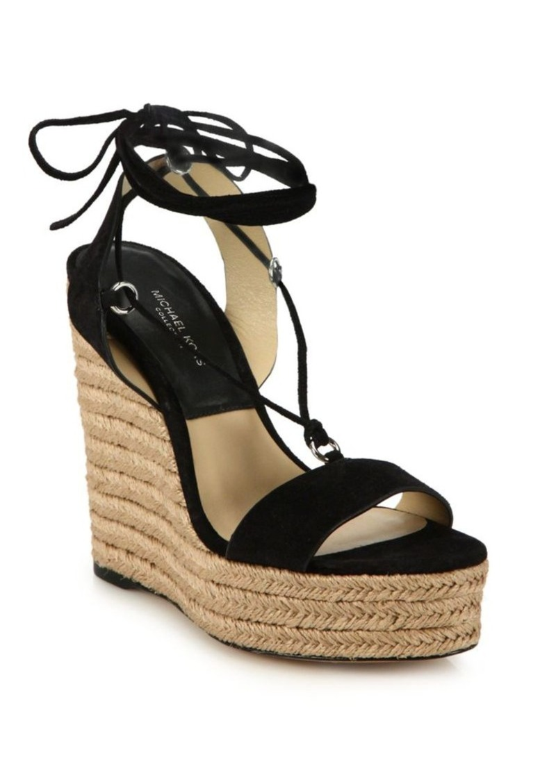 Michael Kors Collection Clive Suede Espadrille Platform Wedge Sandals