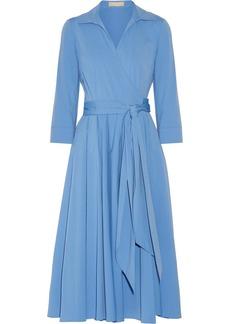 Michael Kors Collection Cotton-blend poplin wrap midi dress