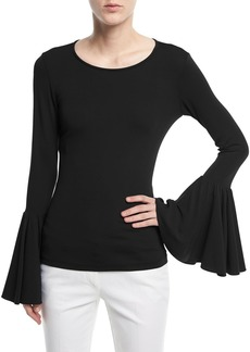 Michael Kors Collection Crewneck Bell-Sleeve Jersey Top
