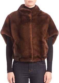 Michael Kors Collection Cropped Mink Fur Cape Jacket