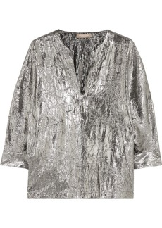 Michael Kors Collection Crushed silk-blend lamé blouse