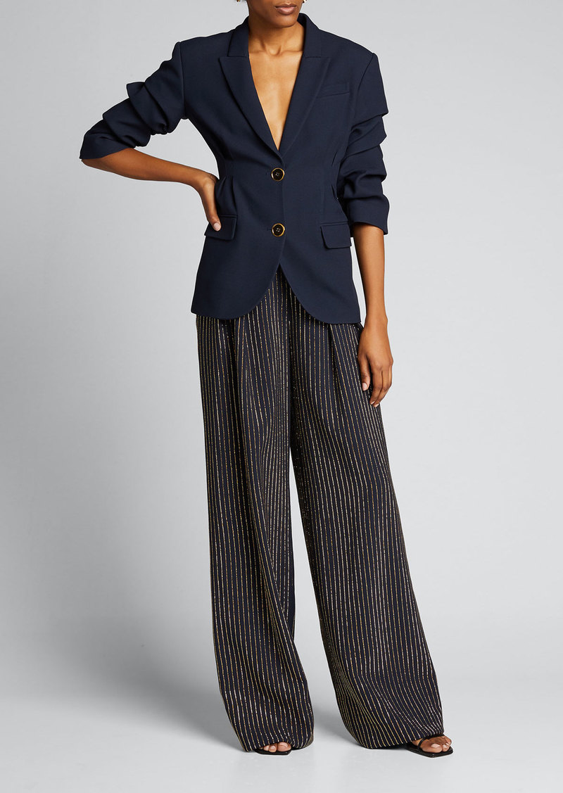 Michael Kors Collection Crystal Pinstripe Wide-Leg Pants