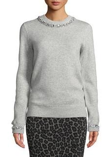Michael Kors Collection Crystalized-Necklace Crewneck Cashmere-Blend Sweatshirt