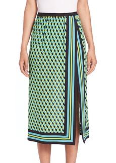 Michael Kors Collection Cube-Print Silk Scarf Skirt