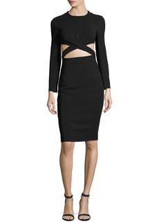 Michael Kors Cutout-Midriff Long-Sleeve Cocktail Dress