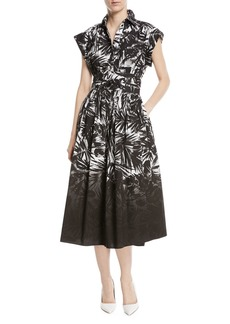 Dip-Dye Tie-Waist Button-Front Printed Shirtdress