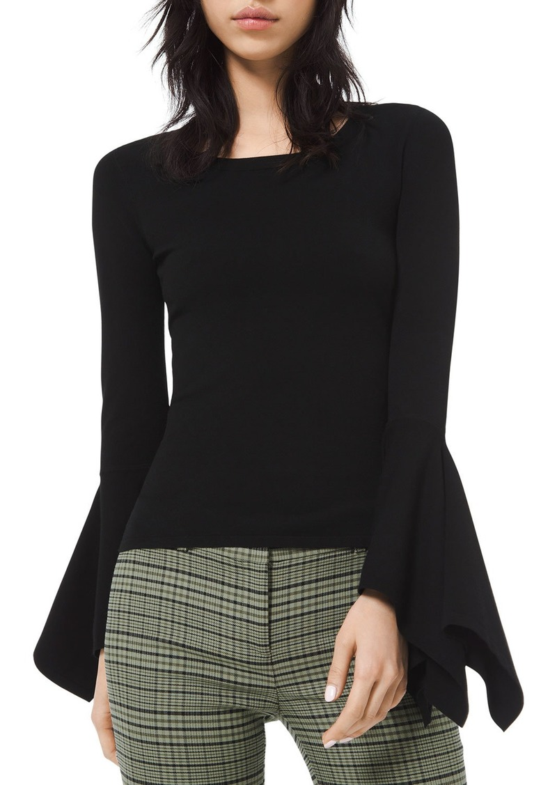 Michael Kors Collection Draped-Cuff Scoop-Neck Sweater