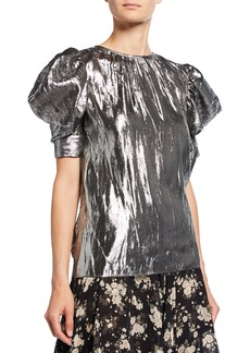 Michael Kors Collection Draped Metallic Puff-Sleeve Blouse