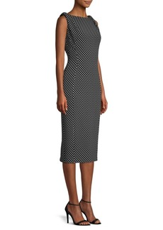 Michael Kors Draped Shoulder Polka Dot Sheath Dress