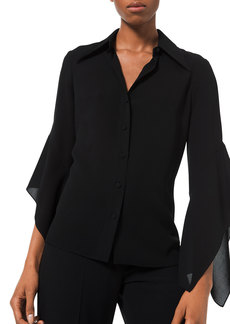 Michael Kors Collection Draped-Sleeve Georgette Blouse