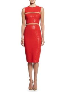 Michael Kors Embellished Cady Illusion Sheath Dress