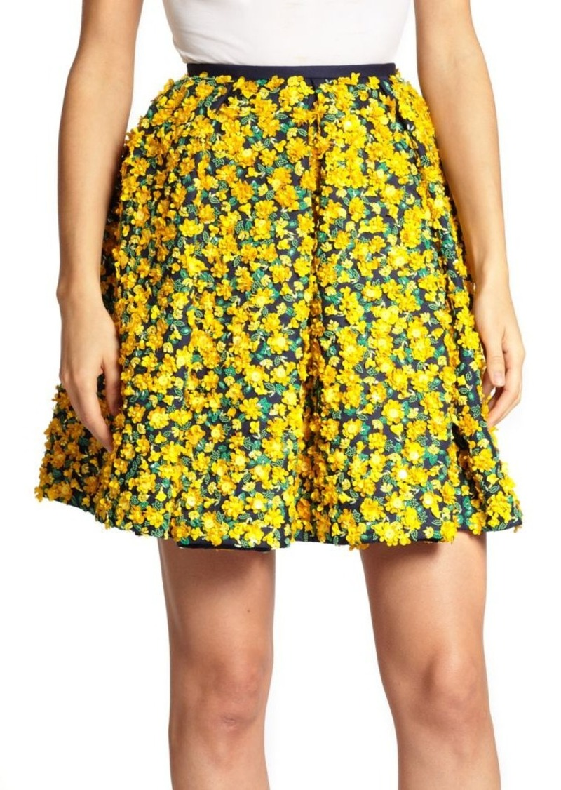 Michael Kors Collection Embellished Floral Wool & Silk Skirt