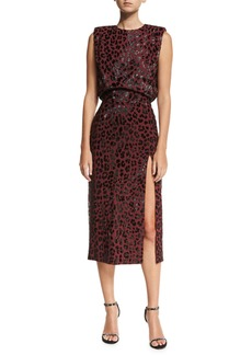 Michael Kors Collection Embellished Leopard Sheath Dress