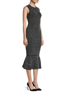 Michael Kors Embellished Midi Trumpet Dress