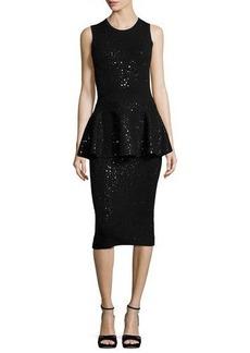 Michael Kors Collection Embellished Sleeveless Peplum Dress