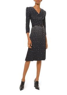 Michael Kors Collection Embellished V-Neck Flare Dress