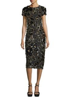 Michael Kors Collection Embroidered Crewneck Sheath Dress