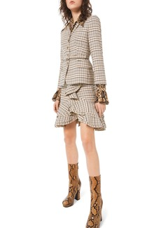 Michael Kors Collection Fitted Plaid Stretch-Wool Blazer