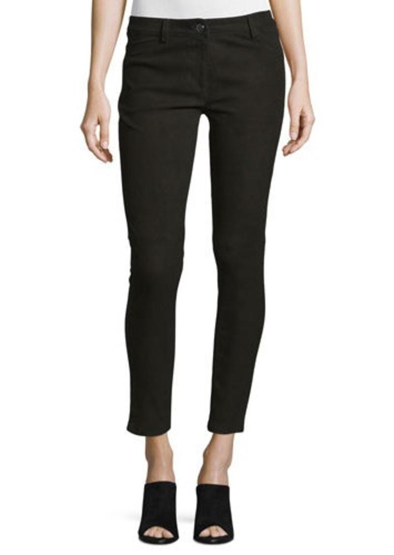 Michael Kors Five-Pocket Skinny-Leg Leather Jeans