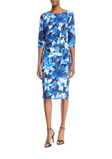 Michael Kors Collection Floral 3/4-Sleeve Sheath Dress