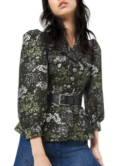 Michael Kors Collection Floral Brocade Button-Front Admirals Jacket