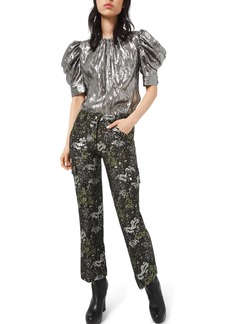 Michael Kors Collection Floral-Brocade Cargo Flare Pants