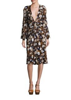 Michael Kors Collection Floral Deep V-Neck Dress