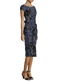 Michael Kors Floral Dupioni Silk Sarong Dress