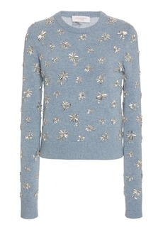 Michael Kors Collection Floral-Embellished Cashmere Sweater
