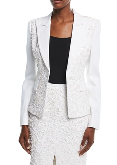 Michael Kors Collection Floral-Embroidered One-Button Tailored Blazer