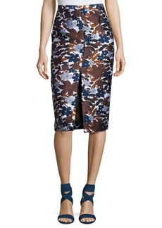 Michael Kors Collection Floral-Embroidered Pencil Skirt