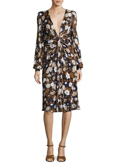 Michael Kors Collection Floral Knotted Deep-V Dress