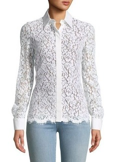 Michael Kors Collection Floral Lace Button-Front Blouse