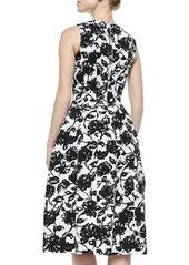 Michael Kors Floral-Print Bell-Skirt Midi Dress