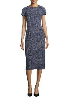 Michael Kors Collection Floral-Print Cap-Sleeve Stretch-Cady Midi Sheath Dress