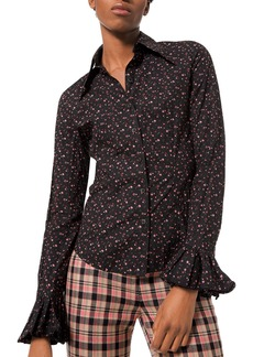 Michael Kors Collection Floral-Print Crushed Bell-Sleeve Shirt  Black