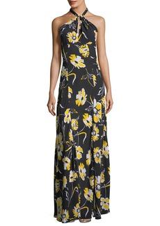 Michael Kors Floral-Print Halter-Neck Georgette Column Gown
