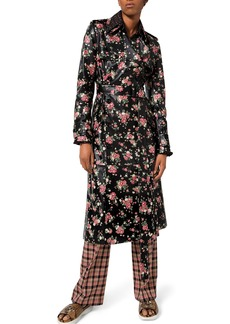 Michael Kors Collection Floral Print Leather Trench Coat