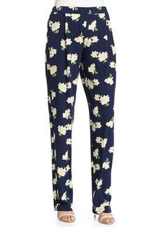 Michael Kors Collection Floral-Print Pajama-Style Pants