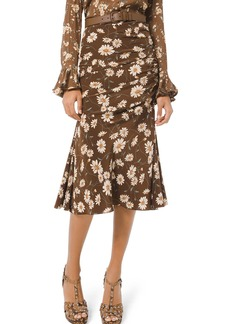 Michael Kors Collection Floral-Print Ruched Silk Skirt