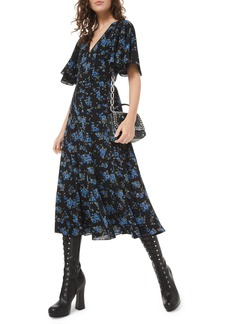 Michael Kors Collection Floral-Print Silk Seamed Flare Dress