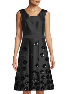 Michael Kors Collection Floral-Sequin Fit-&-Flare Dress