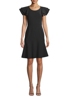 Michael Kors Collection Flutter-Sleeve Scoop-Neck Stretch-Wool Crepe Dress
