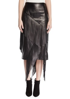 Michael Kors Collection Fringed Lamb Leather Pencil Skirt