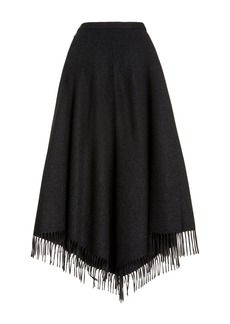 Michael Kors Collection Fringed Wool Fringe Blanket Skirt