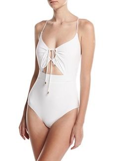 Michael Kors Collection Front-Tie Solid One-Piece Swimsuit