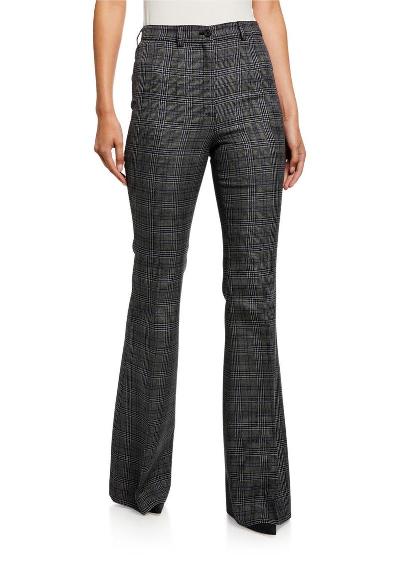 Michael Kors Collection Glen-Plaid High-Rise Wool Flare Pants
