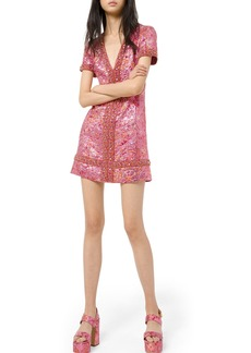 Michael Kors Collection Graphic Metallic Brocade Jeweled V-Neck Dress